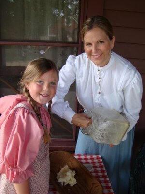 two volunteers dressed up