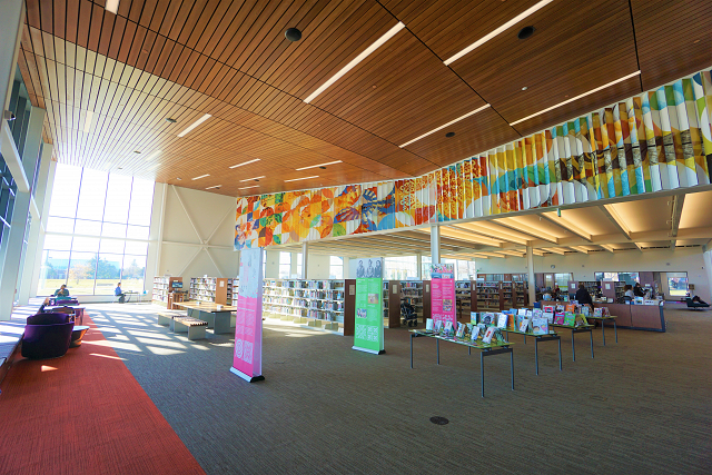 inside of the brooklyn park library
