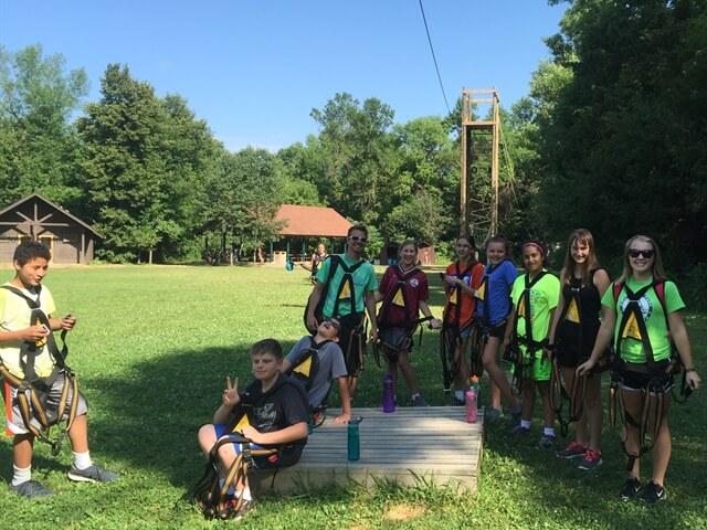 teens at outdoor summer camp