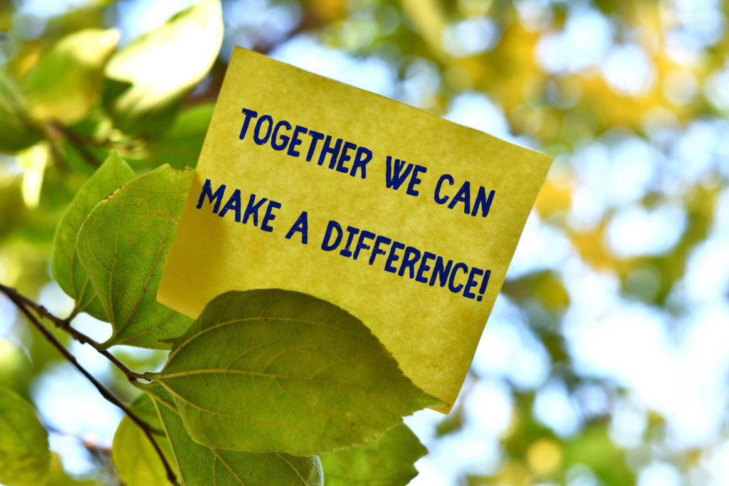 Together We Can Make A Difference. Business concept for be very important some way in like team or group Piece of square paper use to give notation on tree leaf under sunny day.
