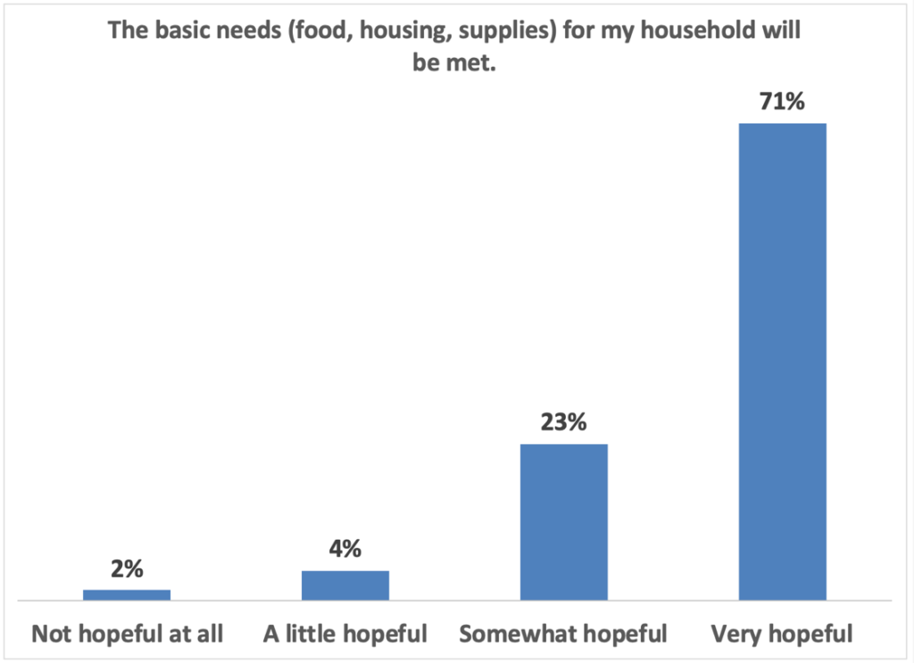 The basic needs for my household will be met: 71% very hopeful 23% somewhat hopeful 4% a little hopeful 2% not hopeful at all