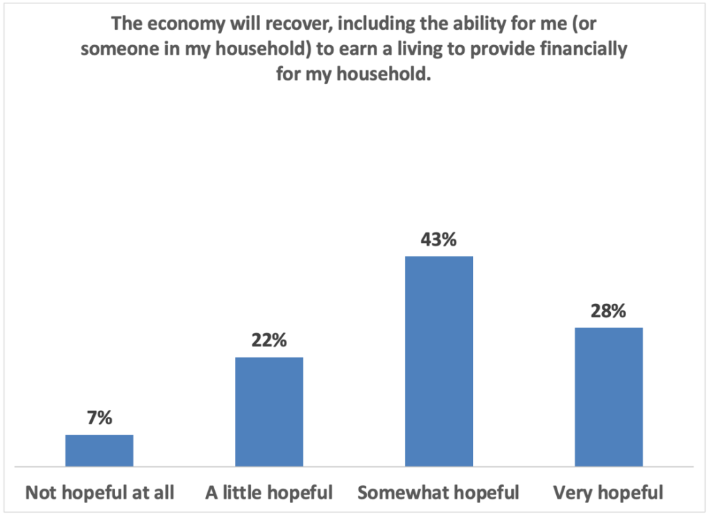 The economy will recover, including the ability for me (or someone in my household) to earn a living to provide financially for my household: 28%: Very hopeful 43% Somewhat hopeful 33% A little hopeful 7% not hopeful at all