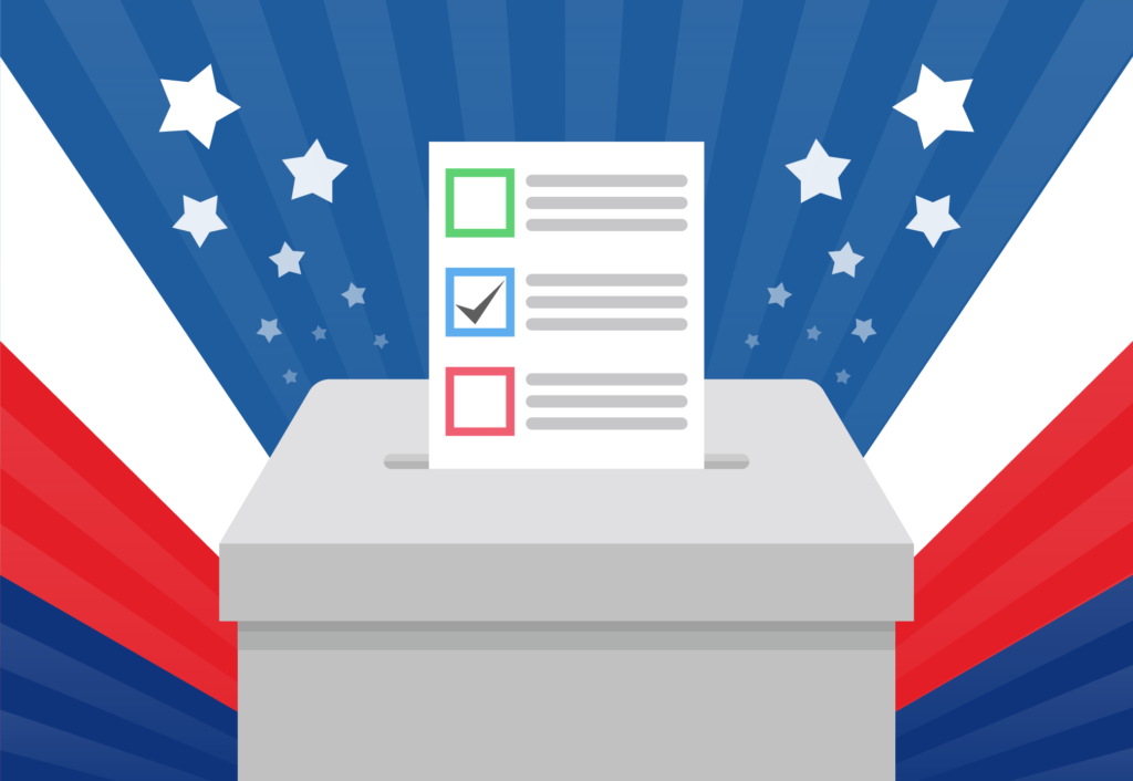 Ballot box with stars and stripes in the background
