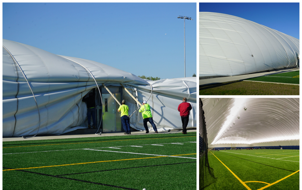 Crews working to deflate the sports dome