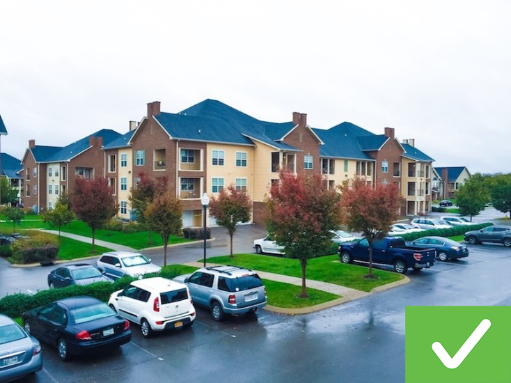 This property's exterior is clean and well maintained with a proper parking lot.