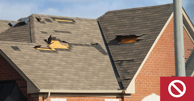 This roof has severe damage and needs to be repaired.