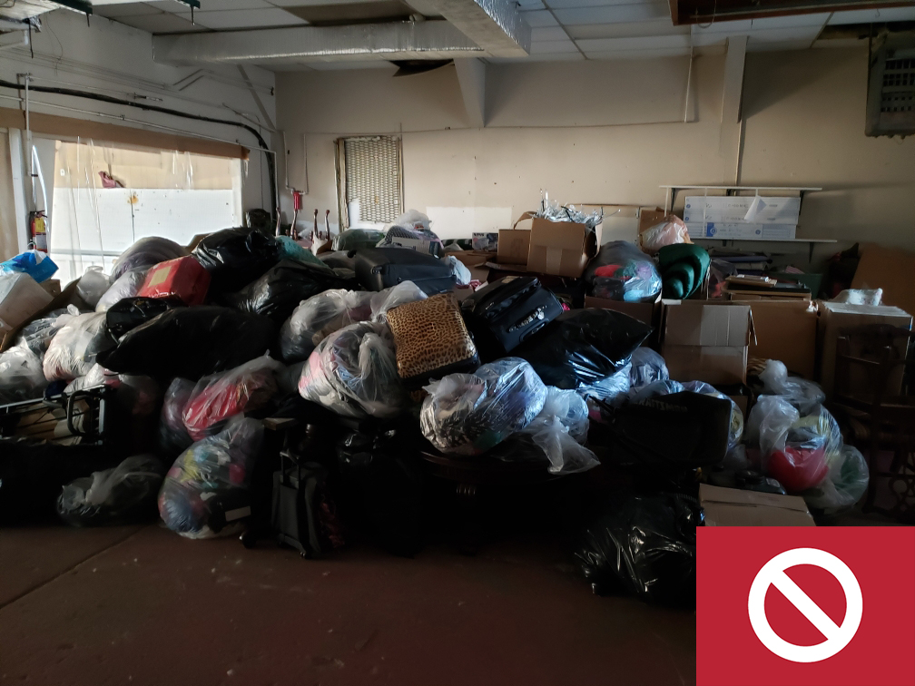 Trash service is not set up, which lead to piles in the garage.