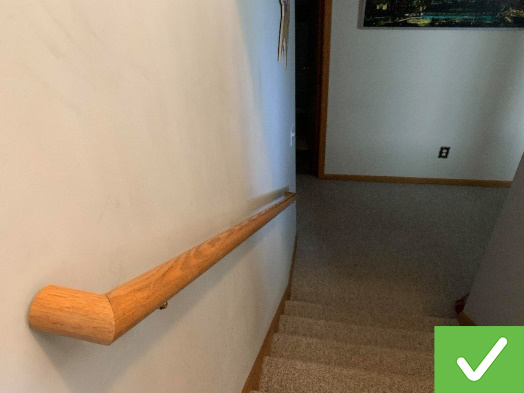 This interior staircase includes a handrail.