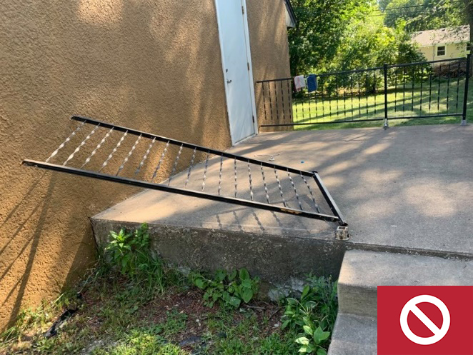 This 30-inch exterior landing does not have an installed guardrail.