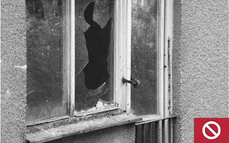 This window has broken glass.