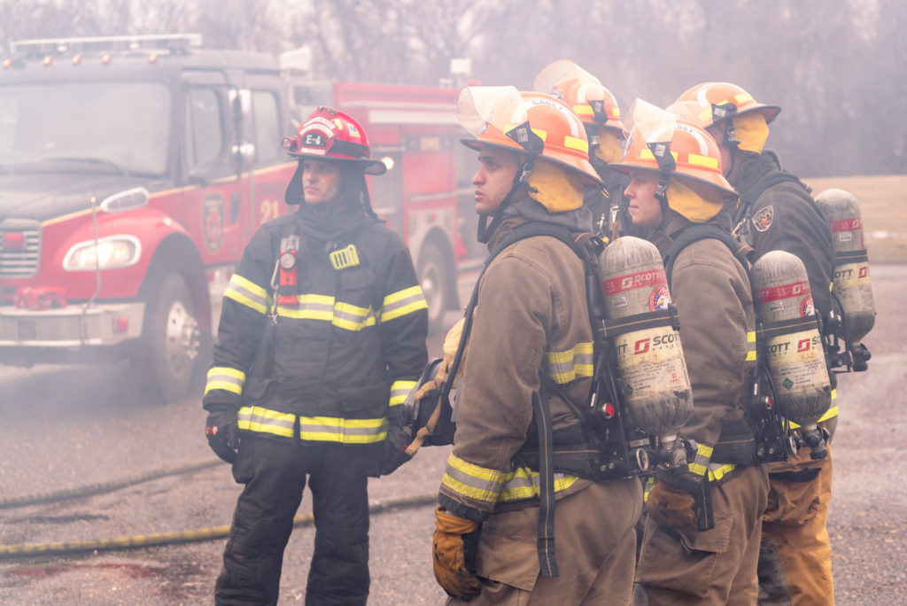 A group of firefighter cadets